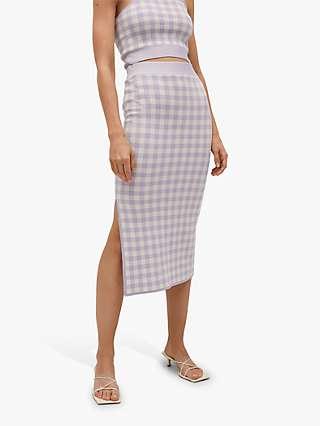 Mango Check Midi Pencil Skirt, Pastel Purple