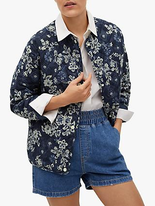 Mango Floral Paisley Print Quilted Jacket, Navy
