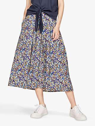 Thought Elsie Floral Pleat Skirt, Azure Blue