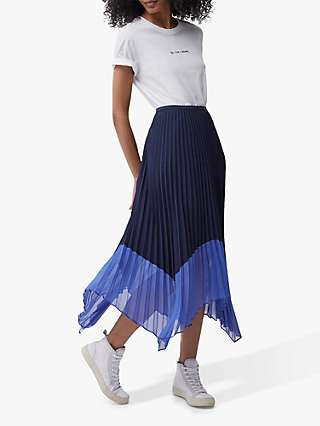 French Connection Ali Pleated Midi Skirt, Nocturnal/Bay Blue