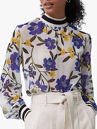 French Connection Eloise Crinkle Floral Top, Summer White/Multi