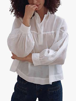 French Connection Dana Smock Top, Summer White