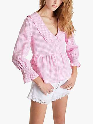 French Connection Artina Gingham Top, Begonia Pink