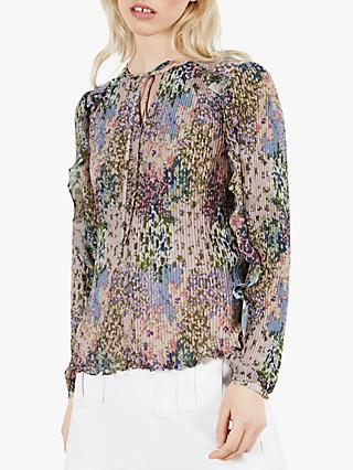 Ted Baker Ditsy Print Pleated Blouse, Pink