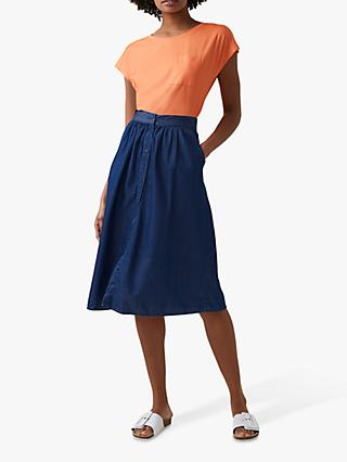 Great Plains Core Chambray Midi Skirt, Indigo Wash