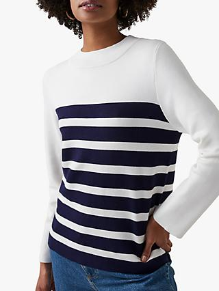 Great Plains Cordell Stripe Jumper, Milk/Classic Navy