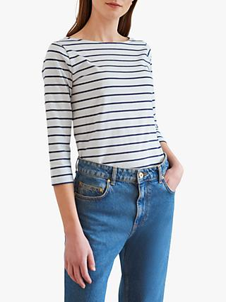 Great Plains Striped Organic Cotton 3/4 Sleeve Top