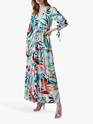 Great Plains Tropical Maxi Dress, White/Multi