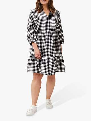 Studio 8 Oona Swing Check Knee Length Dress, Navy/White