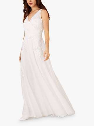 Monsoon Lucy V Neck Floral Embroidered Bridal Dress