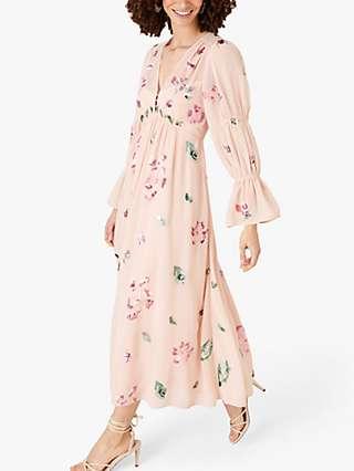 Monsoon Hayley Floral Maxi Tea Dress, Pink