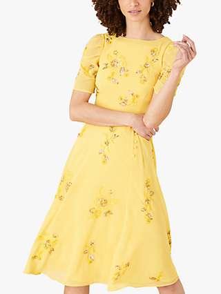 Monsoon Lilah Embellished Midi Dress, Yellow