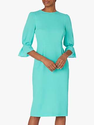 Goat Karmine Wool Frill Sleeve Pencil Dress, Mint