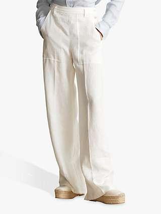 Ralph Lauren Linen Wide Leg Trousers, Nevis
