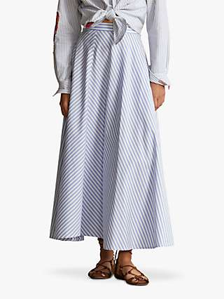 Polo Ralph Lauren Stripe A-Line Maxi Skirt, Blue/White