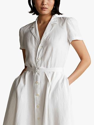 Polo Ralph Lauren Linen Short Sleeve Casual Shirt Dress, White