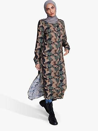 Aab Earth Print Shirt Dress, Camo