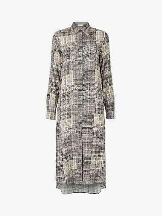 Aab Houndstooth Shirt Dress, Natural