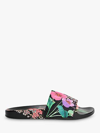 Ted Baker Ashlin Floral Print Slider Sandals, Black