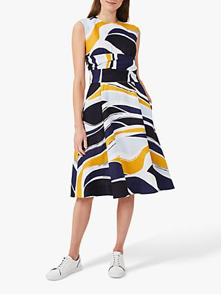 Hobbs Twitchill Linen Abstract Knee Length Dress, Multi