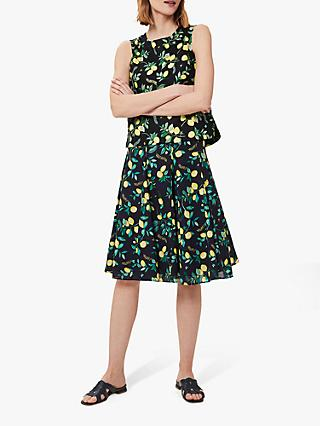 Hobbs Melina Floral Knee Length Skirt, Navy/Multi