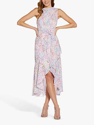 Adrianna Papell Polka Dot Print Bias Cut Dress, Pink/Multi