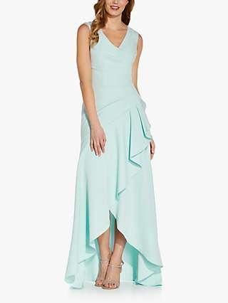 Adrianna Papell Crepe Asymmetric Hem Maxi Gown, Mint Smoke