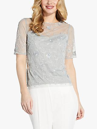 Adrianna Papell Beaded Mesh Blouse, Frosted Sage