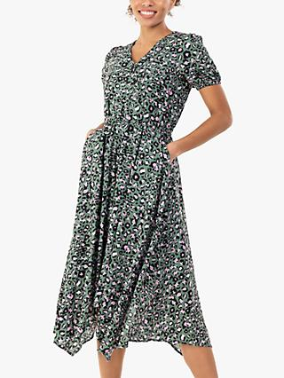 Jolie Moi Nana Hanky Hem Dress, Green Animal