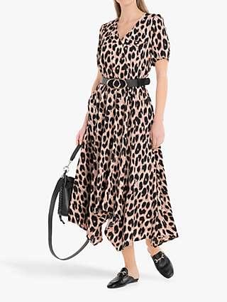 Jolie Moi Nana Hanky Hem Dress, Pink Animal