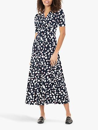 Jolie Moi Acadia Abstract Floral Print Wrap Maxi Dress, Navy/White
