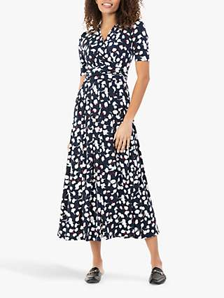 Jolie Moi Acadia Abstract Floral Print Wrap Maxi Dress, Navy/White