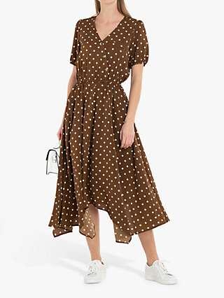 Jolie Moi Nana Hanky Hem Dress, Khaki Spot