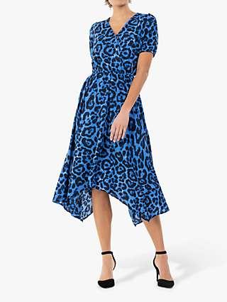 Jolie Moi Nana Hanky Hem Dress, Blue Animal