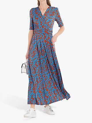 Jolie Moi Acadia Floral Print Wrap Maxi Dress, Blue/Multi
