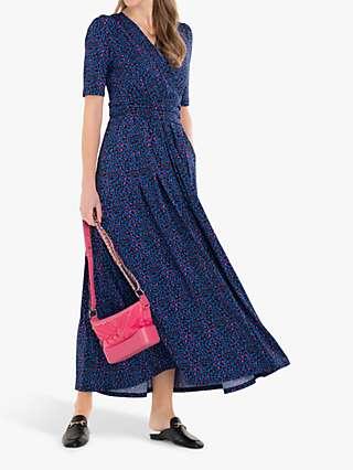 Jolie Moi Acadia Animal Print Wrap Maxi Dress, Blue/Multi