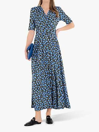 Jolie Moi Acadia Floral Print Wrap Maxi Dress, Blue/Black