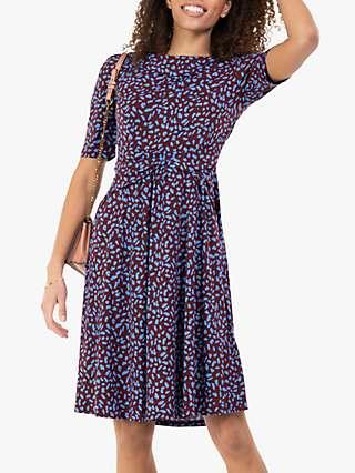 Jolie Moi Belilah Spot Print Foldover Neck Dress, Multi