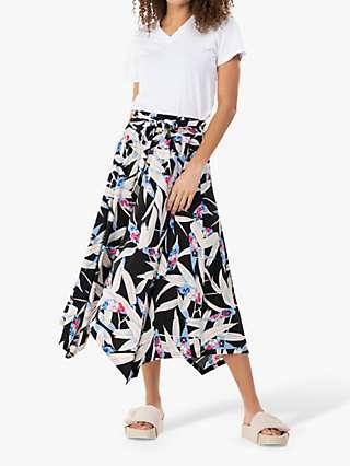 Jolie Moi Cady Leaf Print Maxi Skirt, Black/Multi