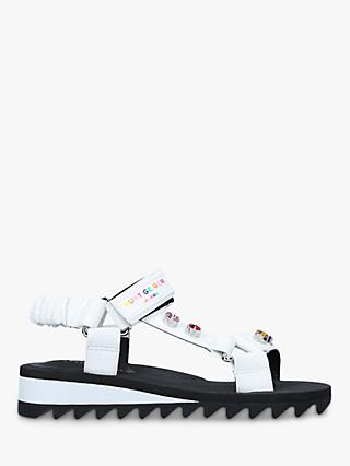 Kurt Geiger London Orion Rainbow Embellished Sporty Sandals, White