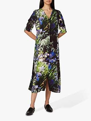 PS Paul Smith Floral Print Midi Dress, Black/Multi