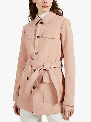 Ted Baker Cago Suede Trench Coat, Light Pink