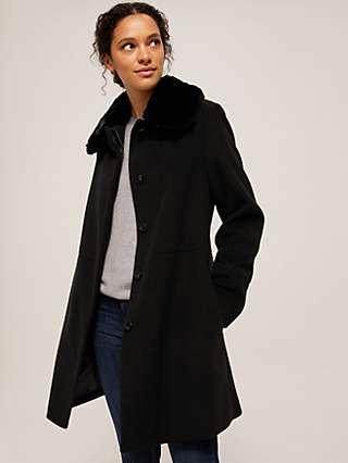 John Lewis & Partners Detachable Faux Fur Collar A-Line Coat, Black