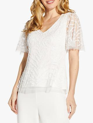Adrianna Papell Beaded Flutter Top, Ivory