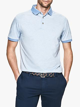 Hackett London Fil a Fil Stripe Jersey Polo Shirt, Blue