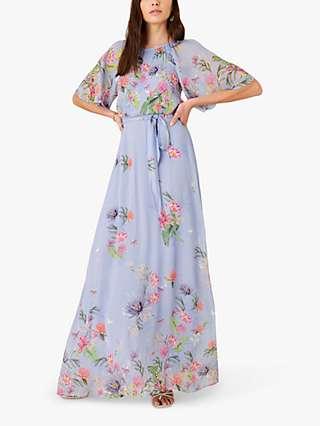 Monsoon Esmee Floral Maxi Dress, Blue