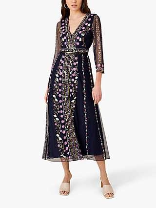 Monsoon Amara Embroidered Floral Midi Dress, Navy