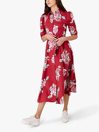 Monsoon Robyn Rose Print Shirt Dress, Red