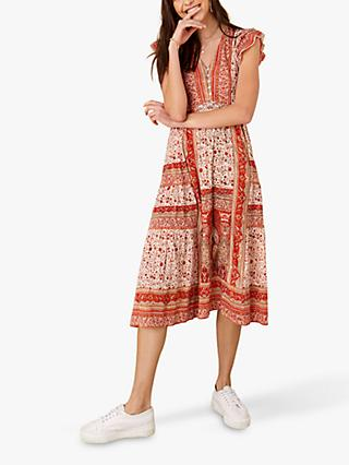 Monsoon Heli Floral Print Midi Dress Orange