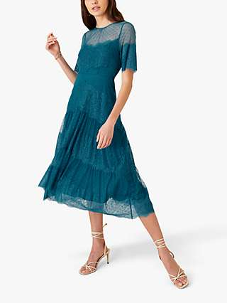 Monsoon Millie Spot Lace Mesh Dress, Teal